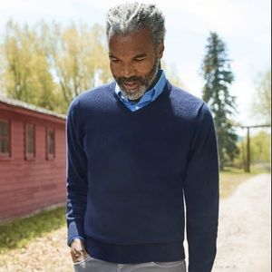 Woods & Gray 100% Cashmere Navy V Neck Sweater